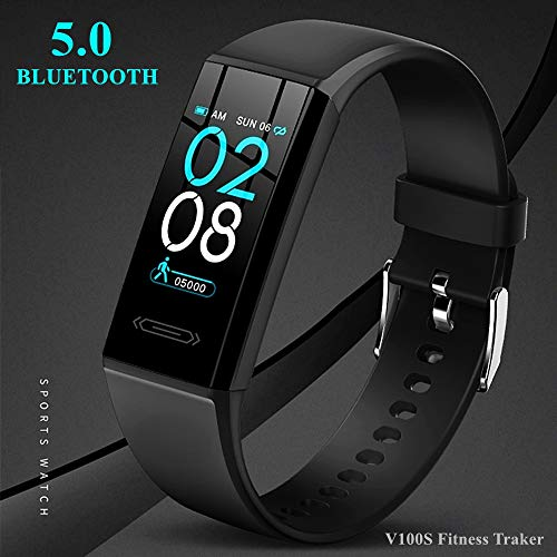 【2021 Version】 Fitness Activity Tracker with All-Day Heart Rate Skin & Body Temperature Sleep Monitor IP68 Waterproof Bluetooth 5.0 Pedometer Step Calories Counter Exercise Watch for Women Men Kids Gifts
