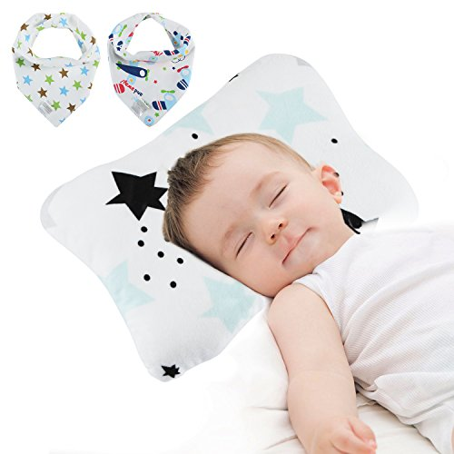 ol Newborn Breathable 3-Dimentional Air Mesh Organic Cotton Flat Head Pillow, Breathable Soft to Prevention for Flat Head Syndrome(blue) + 2 Baby Bibs (Baby Nursery Pillow)