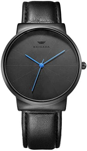 Mens Watches Minimalist Black Business Casual Waterproof Quartz Watches for Men Swiss Brand WeeklyReviewer