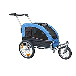 Booyah Medium Dog Stroller & Pet Bike Trailer with Suspension – Blue Click on image for further info.
