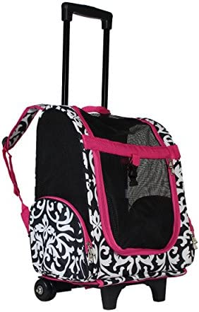 World Traveler Women's 18 Rolling Pet Carrier Backpack Convertible-Pink Trim Damask, One Size