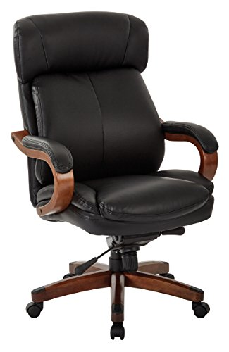 INSPIRED by Bassett Buchanan Bonded Leather Seat and Back, Wood Accents Adjustable Executive Chair, - Bassett Furniture Leather
