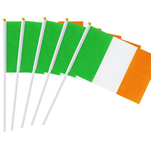 Hand Held Ireland Flag Irish Flag Stick Flag Mini Flag 50 Pack Round Top National Country Flags, Party Decorations Supplies For Parades,World Cup,Sports Events,International Festival (8.2