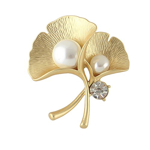 Brooch Leaf Yellow Gold - Feelnear Elegant Women Accessories Rhinestone Simulated Pearl Silver Yellow Gold Ginkgo Leaf Brooch Wedding Party (gold)