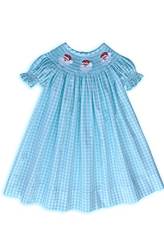 (Hand Smocked Santa Claus Baby Girls Christmas Bishop Dress)