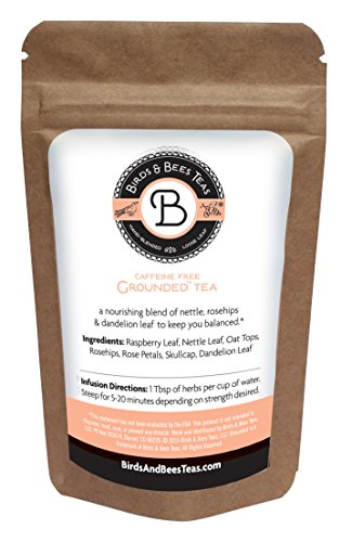 Birds & Bees Teas - Grounded Organic Tea - Refill Bag - Red Raspberry Leaf Blend Supports Fertility! A Delicious Herbal Tea Blend that is also Great for Pregnant or Nursing Mothers. (~40 servings)
