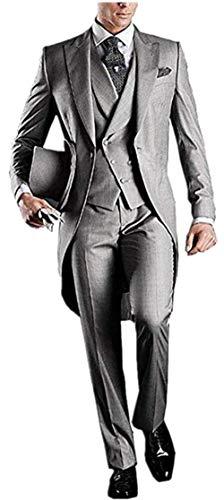 - Everbeauty Men's Handsome 3 Pieces Tailcoat Suit Set Business Suit For Men 2018