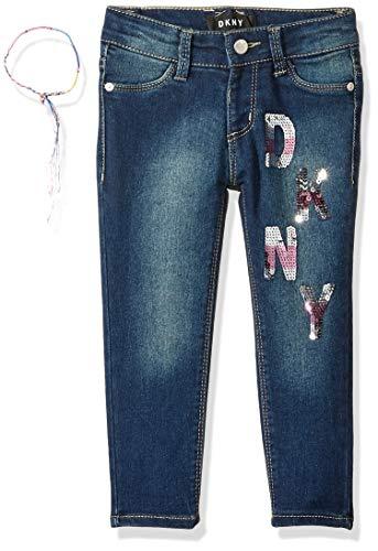 DKNY Girls' Little Stretch Denim Fashion Jean, Patch Mazarine, 6