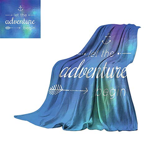 RamonDecorFH Adventure,Fleece Blanket Marine Themed Adventure Quote on Blue Abstract Mosaic Backdrop Journey Super Soft Cozy Throws W70 x L60 inch