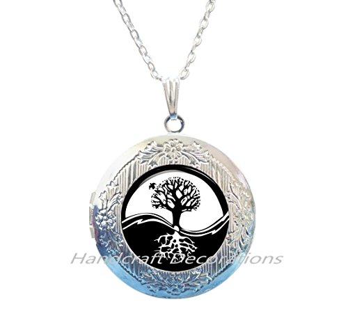 Charm Yin-Yang Tree of Life Locket Pendant Astrology Locket Necklace Jewelery Charm Locket Pendant for Him or (Scene Diamond Necklace)
