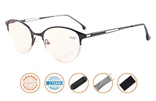 UV Protection,Anti Blue Rays,Reduce Eyestrain,Cat-eye Half-Rim Computer Reading Glasses(Black,Amber Tinted Lenses) - Men Glasses Eye Cat