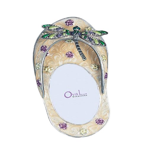 GiftsOGifts Flip Flop with Dragonfly Picture Frame, Yellow, 2