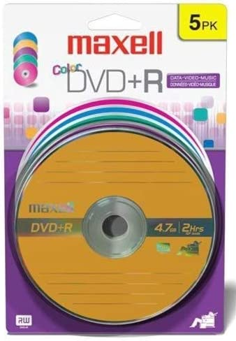 Amazon.com: Maxell 4.7 GB DVD + R 5pk tarjeta de color (5 ...