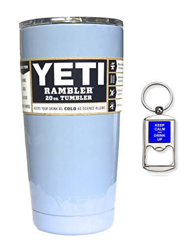 YETI Coolers Custom Powder Coated Insulated Stainless Steel 20 Ounce (20 oz) (20oz) Rambler Tumbler with Lid (Light Baby Blue Sparkle)