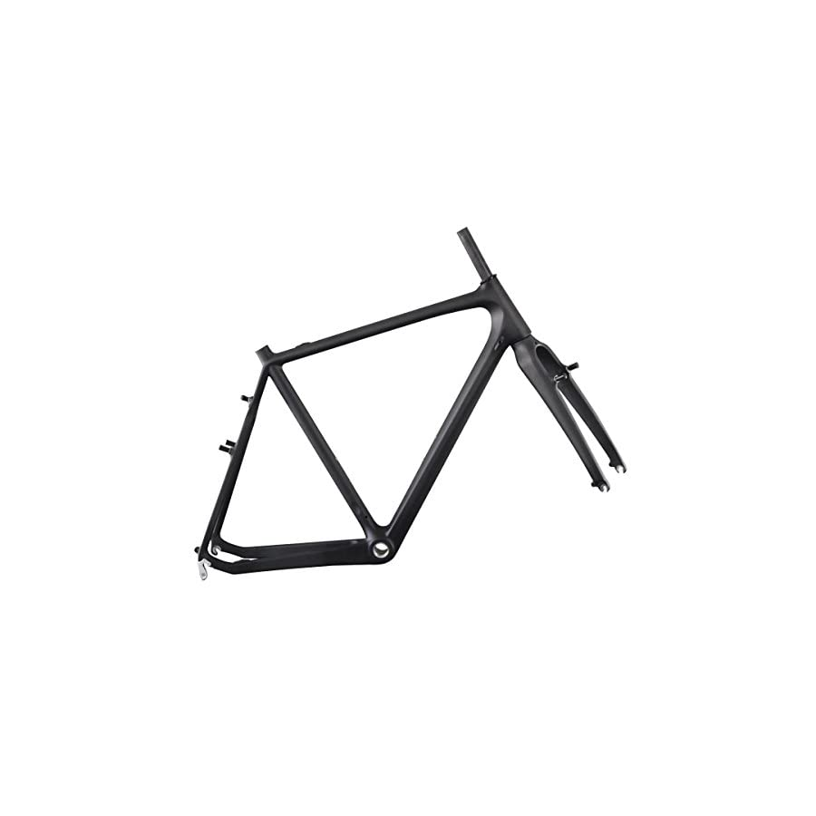 ICAN Carbon Cyclocross Road Bicycle Frameset with Fork BSA Cantilever Brake UD Matt 51/53/55/57cm