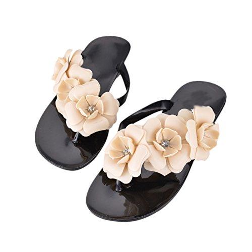 Flops Sandals Fashion Flat Heel Flower Beach Slippers (9.5, Black) ()