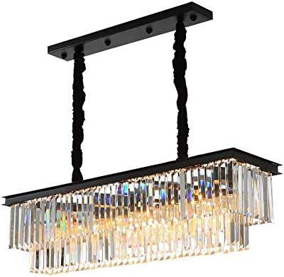 NOXARTE Rectangular Luxury K9 Crystal Chandeliers Lighting LED Ceiling Light Fixture