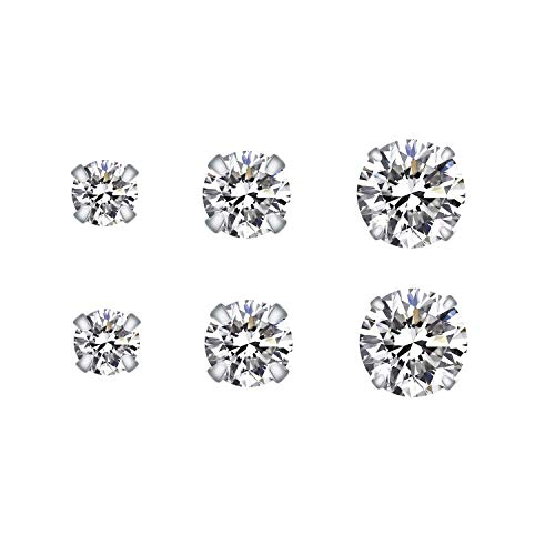 Wellme Sterling Silver Stud Earrings Round Cut Cubic Zirconia Inlaid 3mm 4mm 5mm Set 3 Pairs (3/4/5mm Pack of ()
