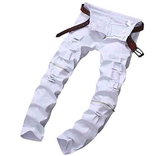 Strappati Con Buchi In Huixin Zip Casual Chiusura Denim Bianca Pantaloni Gamba Chern Uomo Dritta Da Fit A Slim Skinny Jeans E IAAqT5