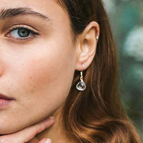 Crystal quartz crystal teardrop dangle earrings in 14k gold fill - April birthstone