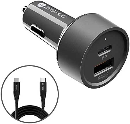 USB C Car Charger, ZeeHoo 36W 2-Port Fast PD Car Charger with 18W Power Delivery and Quick Charge 3.0 3A Compatible with iPhone - Galaxy S10 S9 S8 S7 S6 and More (3.3ft USB C Cable Included)