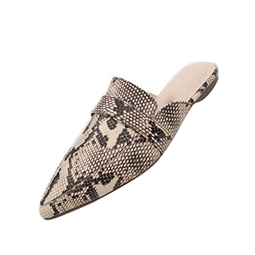 ✔ Hypothesis_X ☎ Snake Print Shoes, Women's Flat Sandals Slippers Elegant Pointed Slingbacks Wedding Party Shoe Silver