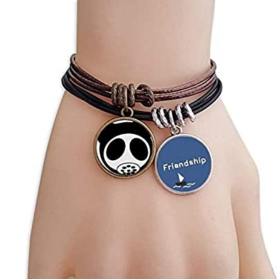 YMNW Pollution Environmental Protection Gas Mask Friendship Bracelet Leather Rope Wristband Couple Set Estimated Price -