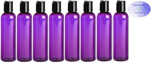 4 Ounce Purple PET BPA-Free Plastic Empty Refillable Cosmo Round Bottles With Disc Caps (Pack of 8)