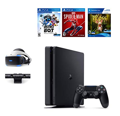 Sony PlayStation 4 Slim 1TB Console Plus PS4 VR Deluxe Bundle: Choose from PS VR Headset with Camera, Marvel's Spider-Man game, Astro Bot Rescue Mission, Moss PSVR GAME