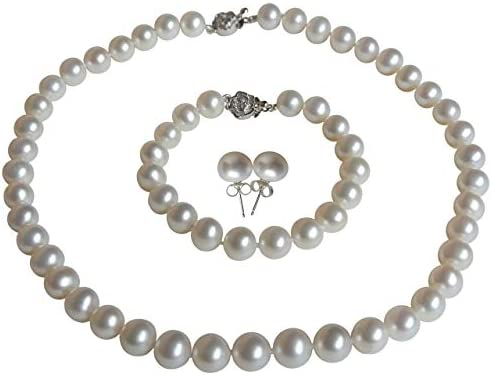 18 Inches 8.5mm Genuine Cultured Freshwater Pearls White Freshwater Cultured Pearl Necklace 8mm