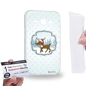 Case88 [Samsung Galaxy J1] Gel TPU Carcasa/Funda & Tarjeta de garantía - Art Christmas Classics Christmas Rudolph 1411