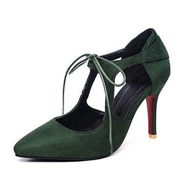 Talones de las mujeres Spring Club zapatos de la comodidad de cuero oficina y carrera banquete de boda y vestido de noche de tacón de aguja del Bowknot Amarillo Rosa Blanco Red