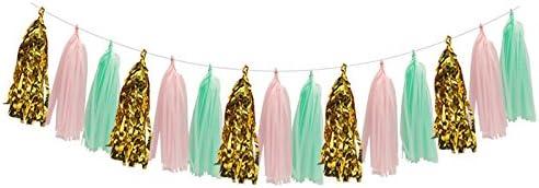 タッセルガーランドデコレーション ソーゴージティッシュペーパーポンポンフラワー ティッシュペーパー タッセルバナー 水玉模様 ペーパーガーランドキット 結婚式 誕生日 卒業式 ベビーシャワー パーティーの装飾用