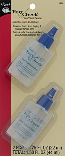 - Dritz 1674 Fray Check Liquid Seam Sealant, 0.75-Fluid Ounce (2-Count)