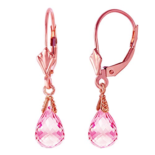 Topaz Earrings Garnet & Pink (4.5 Carat 14K Solid Rose Gold Leverback Earrings Briolette Pink Topaz)