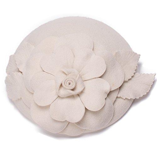 Flower Womens Dress Fascinator Wool Pillbox Hat Party Wedding A083 (Ivory)