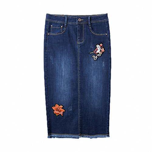 Womens NEW Flower Embroidered Blue Jeans Pencil Skirt Female Summer High Waist Long Skirt