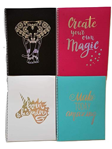 Victor Home 4pcs Pen + Gear 4-Pack Poly Spiral Notebook, 8