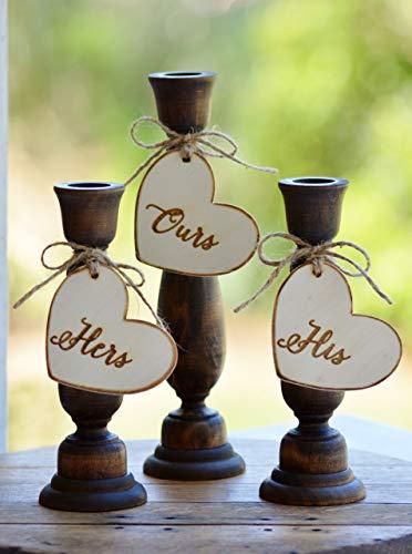 (Rustic Unity Candle Holders Wood Wedding Unity Candle Set Wedding Ceremony Decor Set of 3)