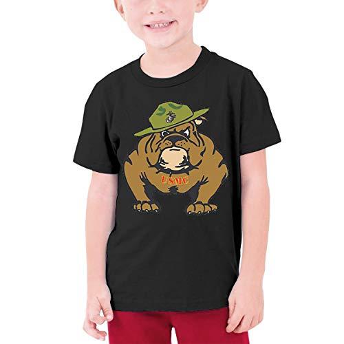 HHenry Youth USMC Bulldogs in Army Short Sleeve T-Shirt Tee Tops for Boys Girls Black Black Ink Usmc Bulldog