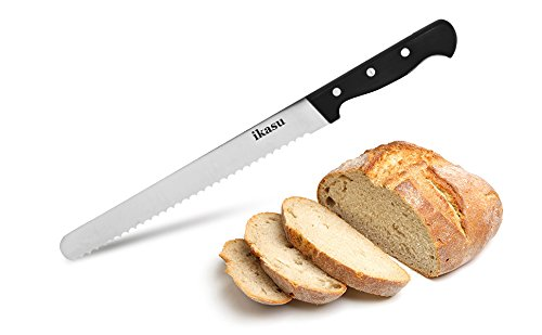 ikasu 10 inch Bread Slicer Knife | Ultra-Sharp German High Carbon Stainless Steel Serrated Edges, Full Tang Blade | Durable Luxury Pakka Wood Handle