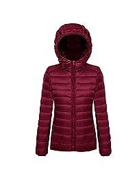 XFentech Women's Hooded Ultra Light Weight Packable Short Down Jacket Outdoor Coat