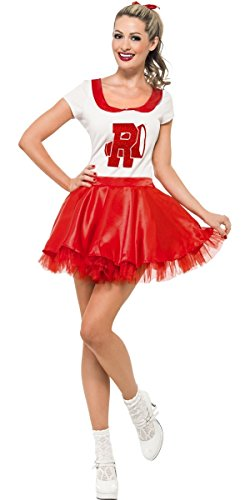 Ladies Sexy Sandy 1950s 50s Cheerleader Grease Film Fancy Dress Costume Outfit UK 8-14 (UK 8-10)]()