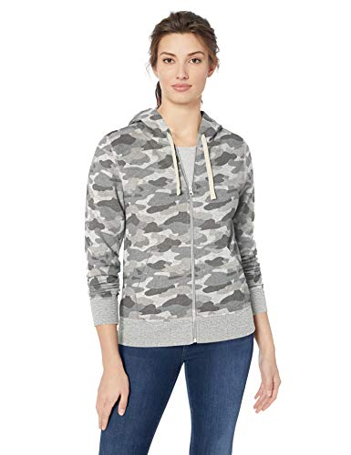 - Amazon Essentials Women's French Terry Fleece Full-Zip Hoodie, -grey camo, X-Large