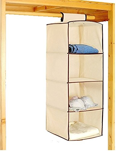 SahiBUY Multi-Use 4 Layers Hanging Closet Organizer Storage Wardrobe (30x30x80cm) Cream