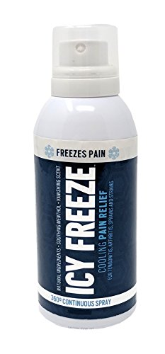 - ICY Freeze Cooling Pain Relief Continuous 4 oz Spray with Ilex! IcyFreeze Cold Therapy 360 Degrees Continuous Spray is Greaseless and Stain Free for Mess Free Therapeutic Pain Relief! (1 Pack)