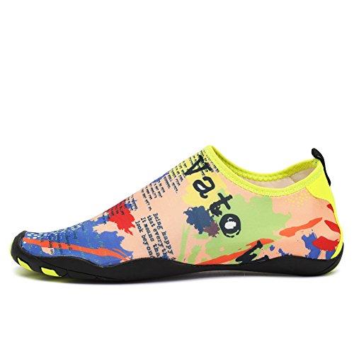 Cior Women Womens Barefoot Quick-dry Sport Acquatici Aqua Shoes Con 14 Fori Di Drenaggio Per Nuotare, Camminare, Yoga, Lago, Spiaggia, Giardino, Parco, Guida Gialla