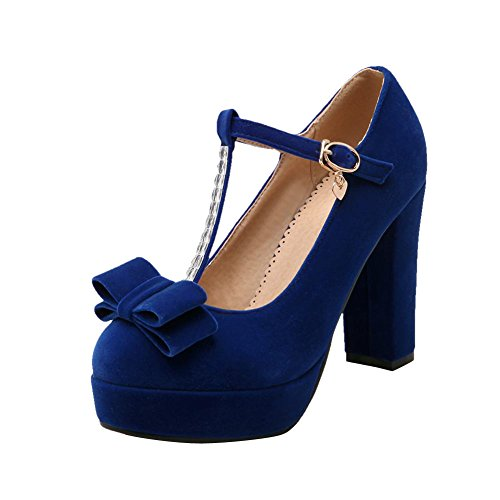 Carol Shoes Women's Fashion Elegant High Heel Bows T-strap Court Shoes Blue 1SXGkW17I