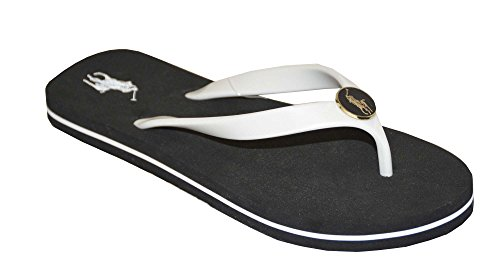 Ralph Lauren Women's Elissa Flip Flops Sandals (7B, White/Black)