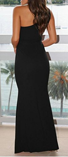 Cromoncent Femmes Dentelle Confortables Creux Sur Robes Maxi Solides Une De L'épaule Noir